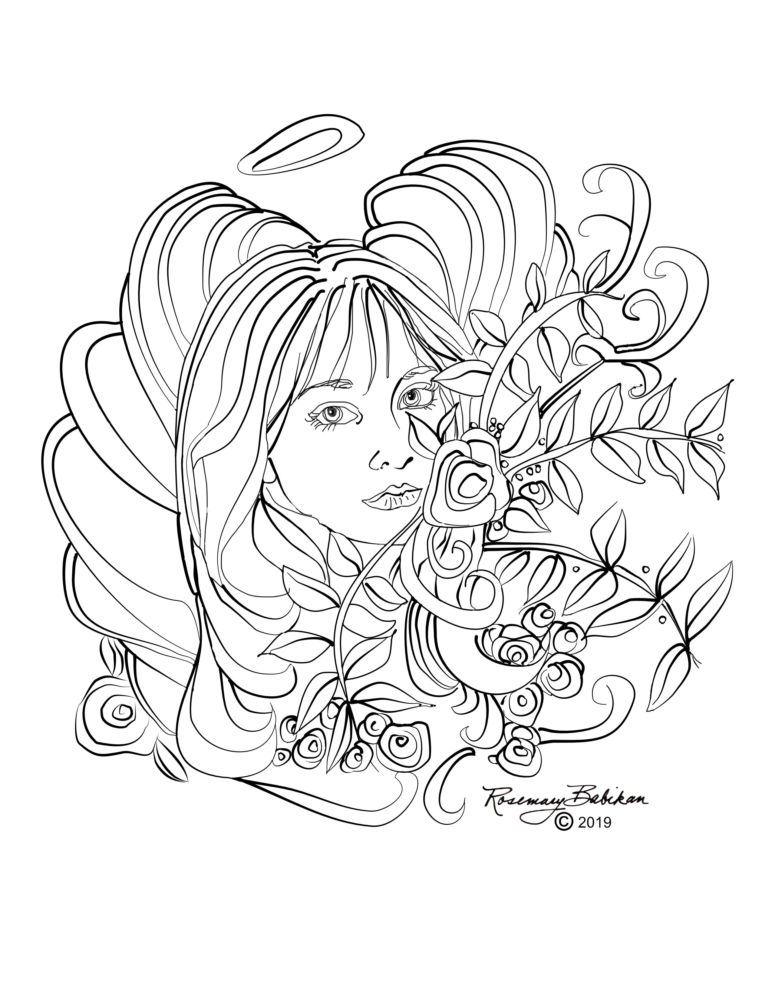 Angel Coloring Pages, Adult Coloring, Detailed Beautiful