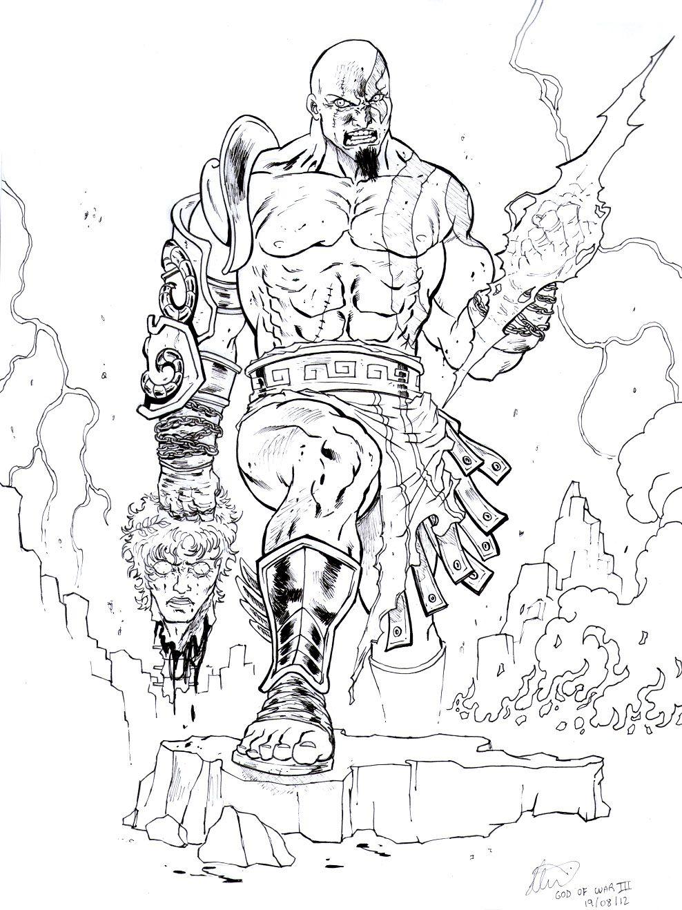 Incredible God Of War Coloring Pages   Tinta   Coloring