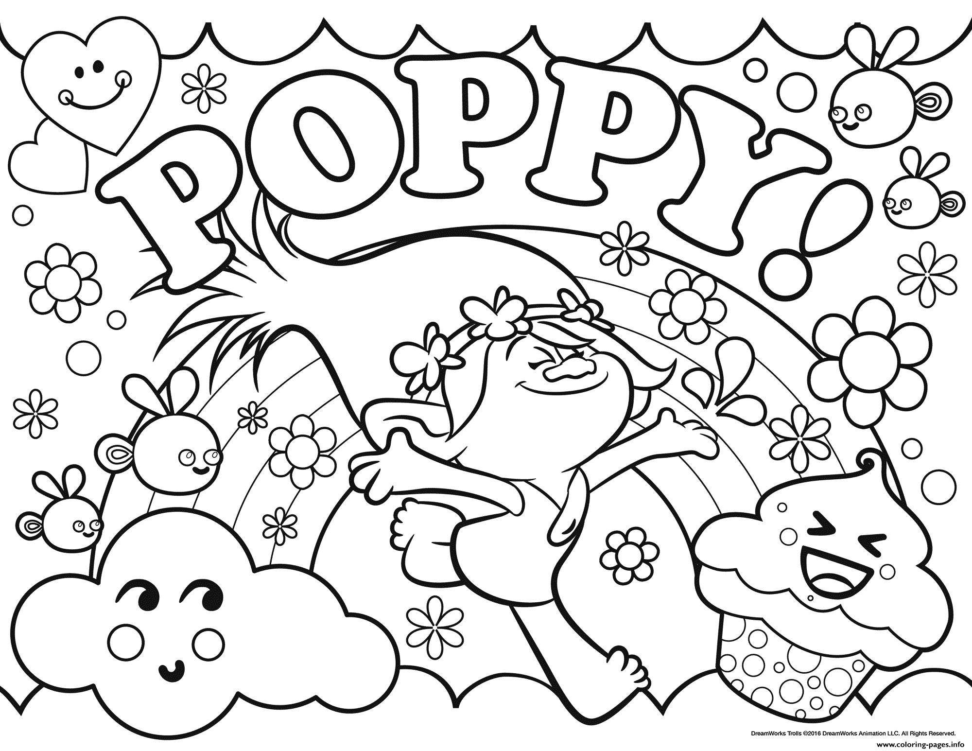 Print Trolls Poppy Coloring Pages | Bizzy Kidz | Poppy