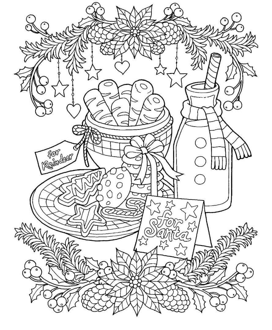 Christmas Milk And Cookies Coloring Page | Christmas Pages
