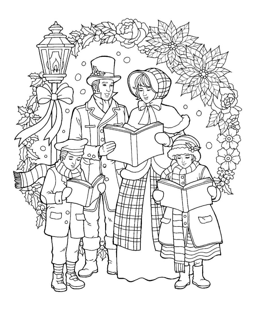 Christmas Caroler Coloring Page | Christmas Pages To Color