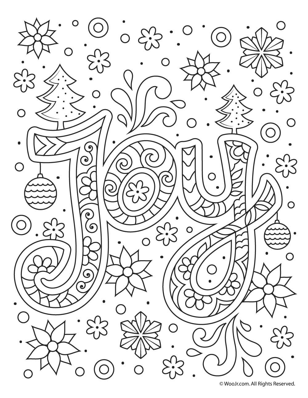 Christmas Joy Typography Coloring Page | Art Journal Art