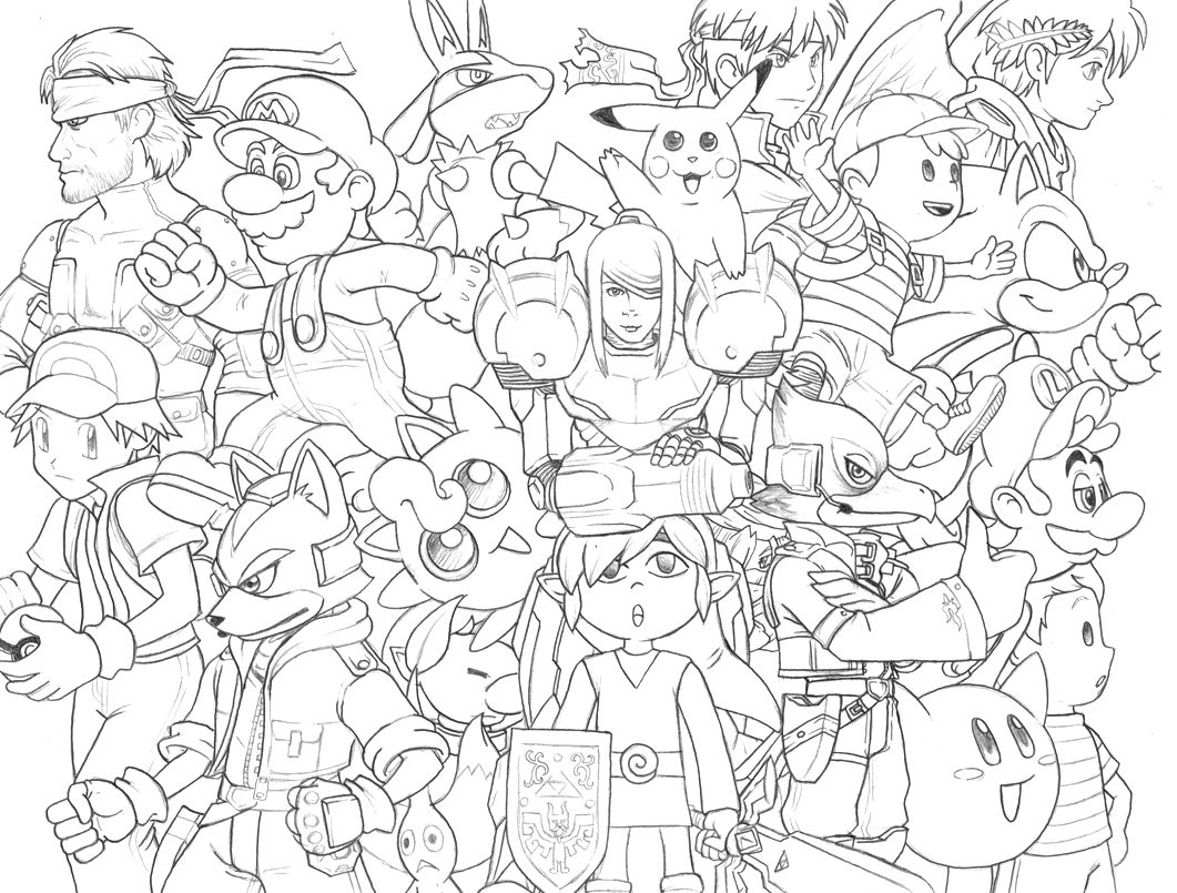 Smash Bros Doodle | Super Smash Bros, Cartoon Coloring Pages