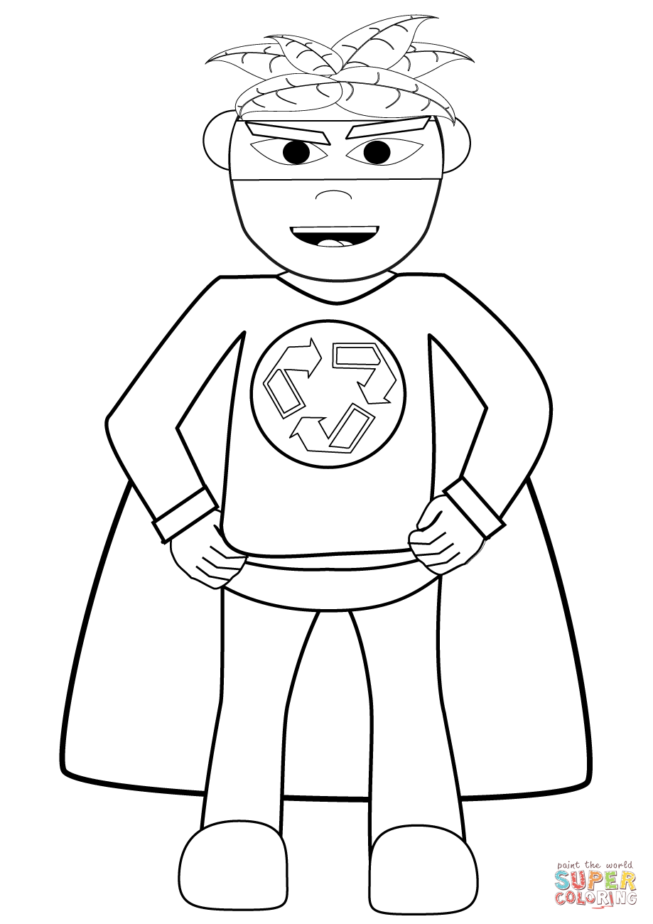 Recycling Superhero Coloring Page | Free Printable Coloring