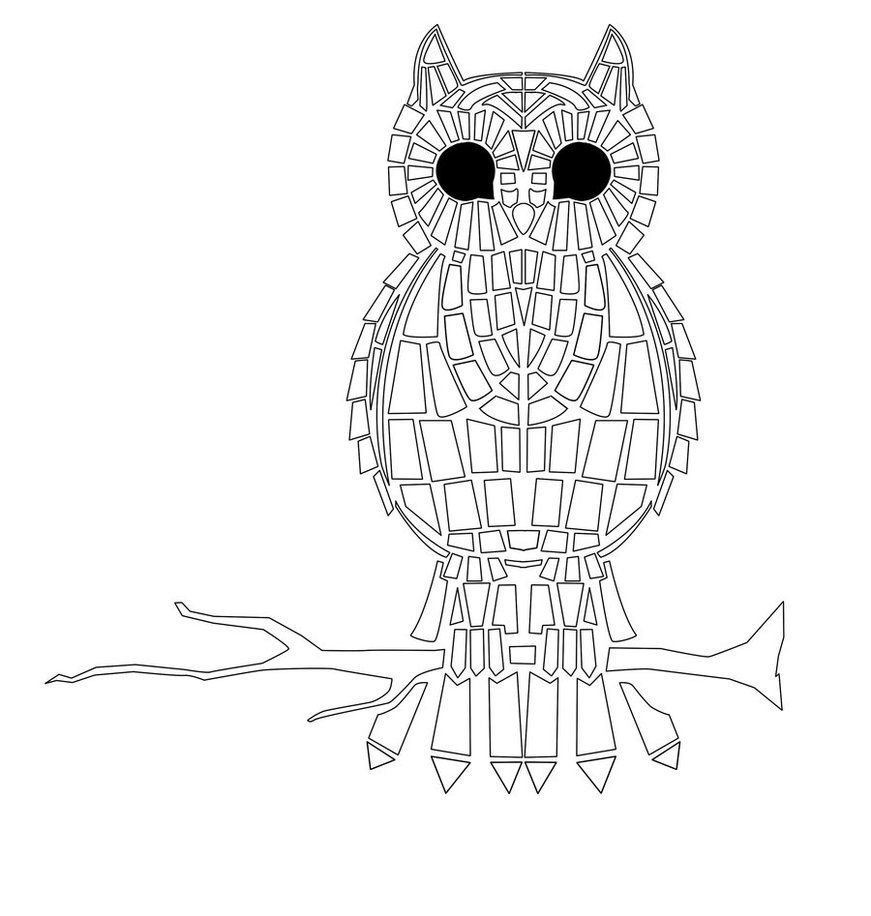 Free Printable Adult Mosaic Coloring Pages | Mosaic | Owl