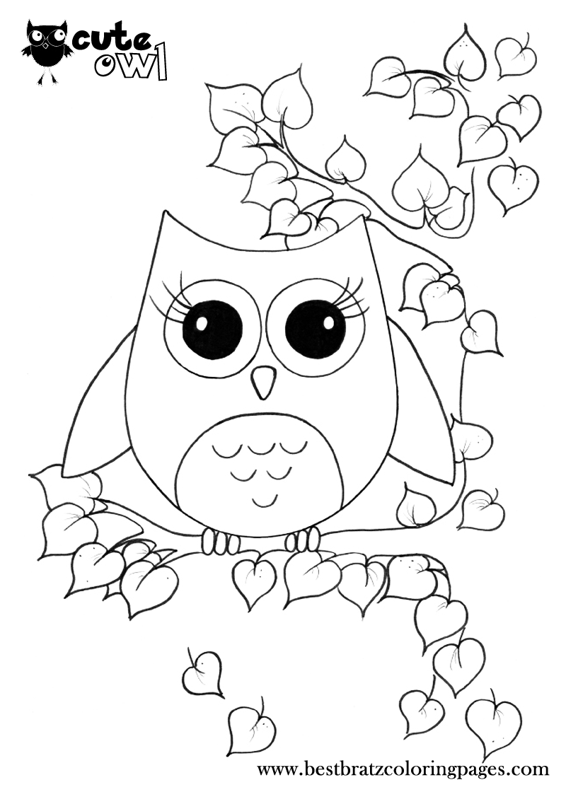 Cute Owl Coloring Pages   Bratz Coloring Pages   Coloring