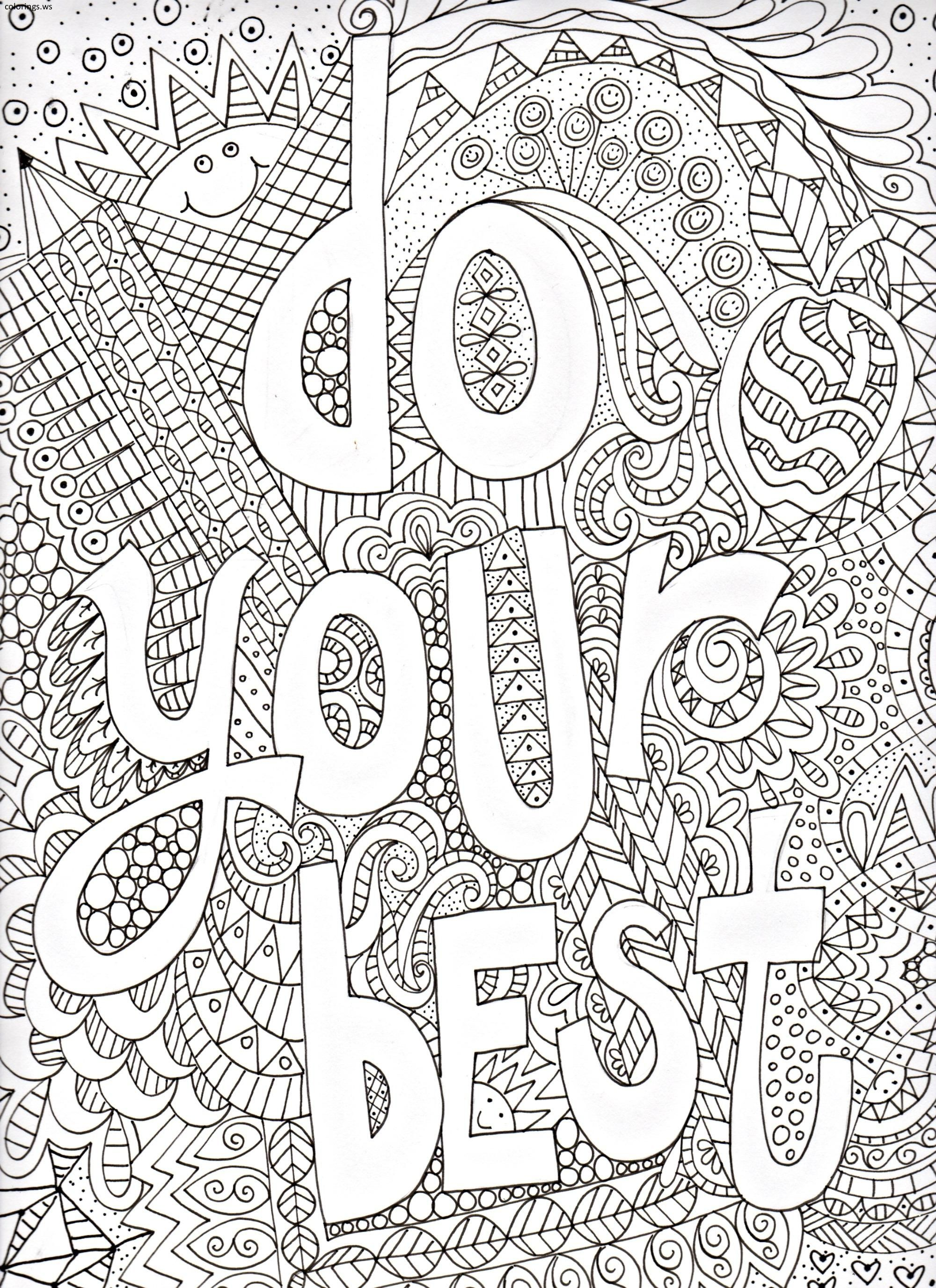 Do Your Best Sayings Coloring Page, Sayings Coloring Pages