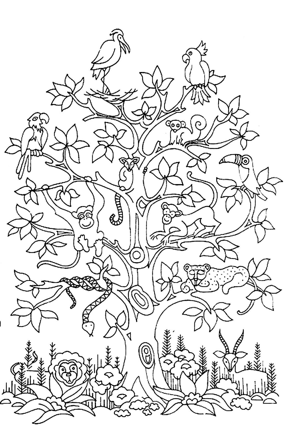 Free Coloring Page Coloring-adult-difficult-tress-birds