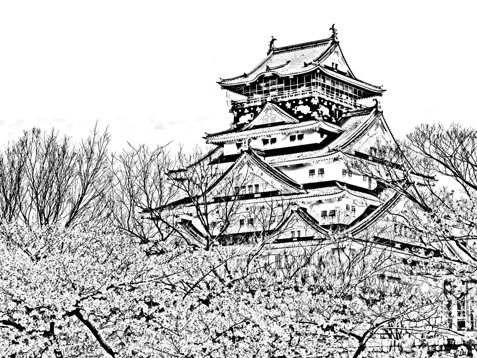 Free Coloring Page Coloring-temple-of-the-cherry-blossom