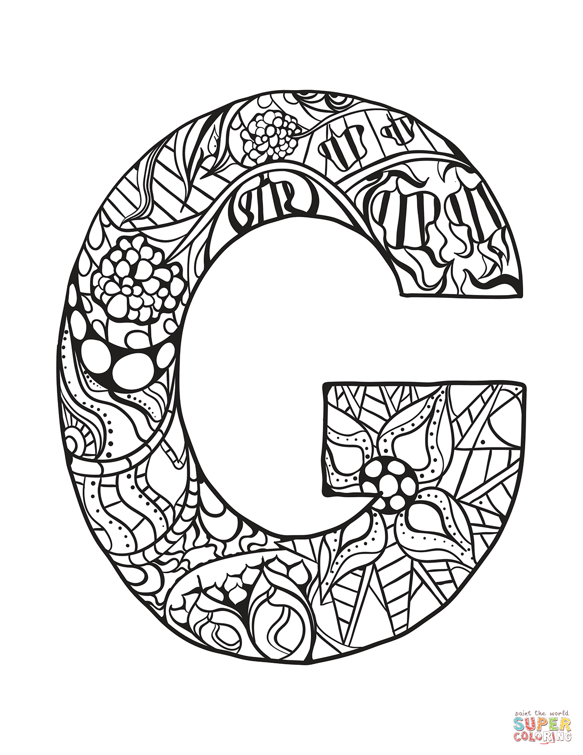 Letter G Zentangle Coloring Page | Free Printable Coloring