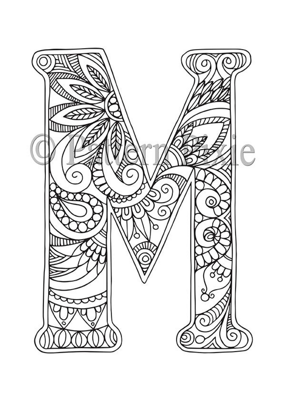 "Adult Colouring Page Alphabet Letter ""m"" 