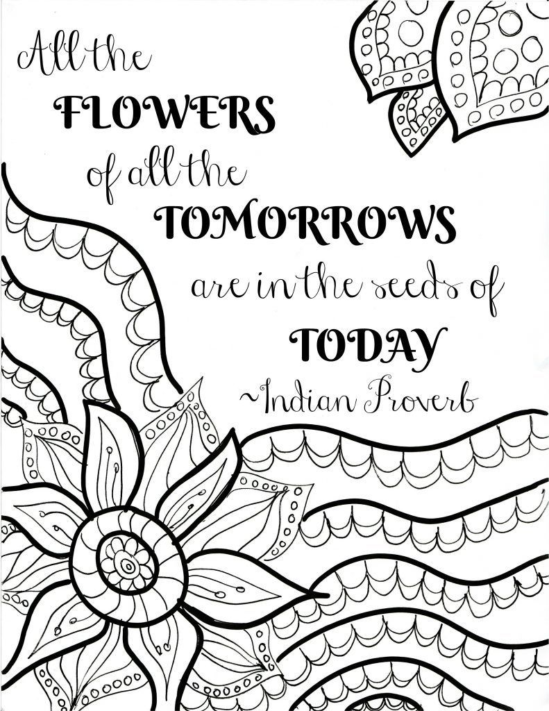 Free Printable Flower Quote Coloring Pages | Quote Coloring