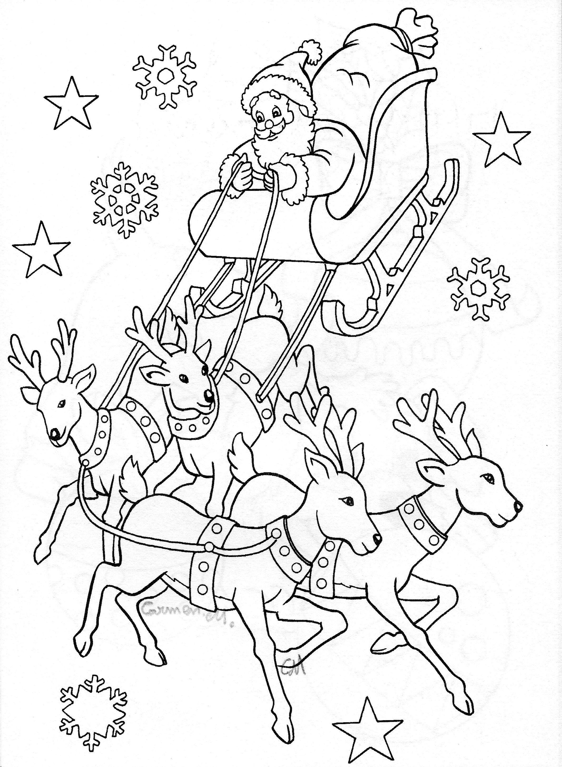 Santa Sleigh | Christmas Colors, Christmas Coloring Pages