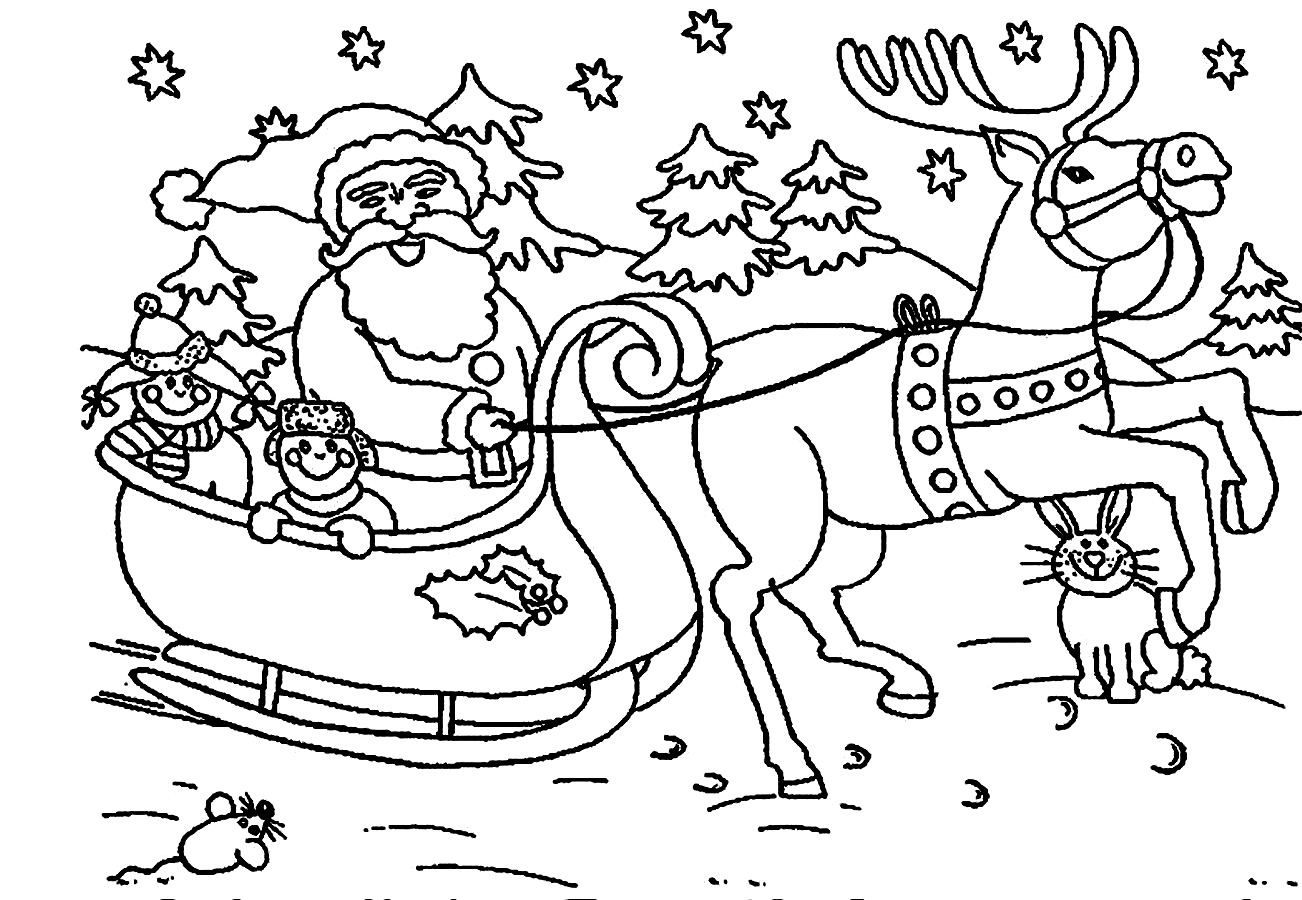 Santa Claus Coloring Pages Christmas Sleigh Reindeer | Santa