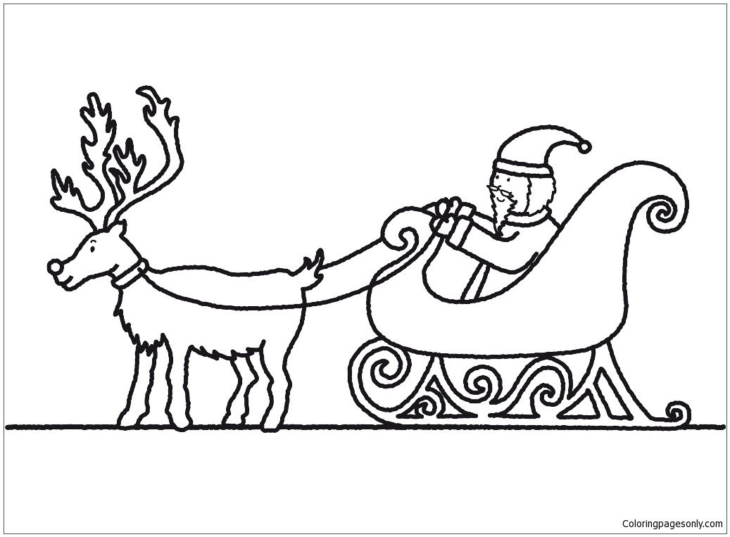 Santa Claus And Sleigh Coloring Page | Santa Coloring Pages