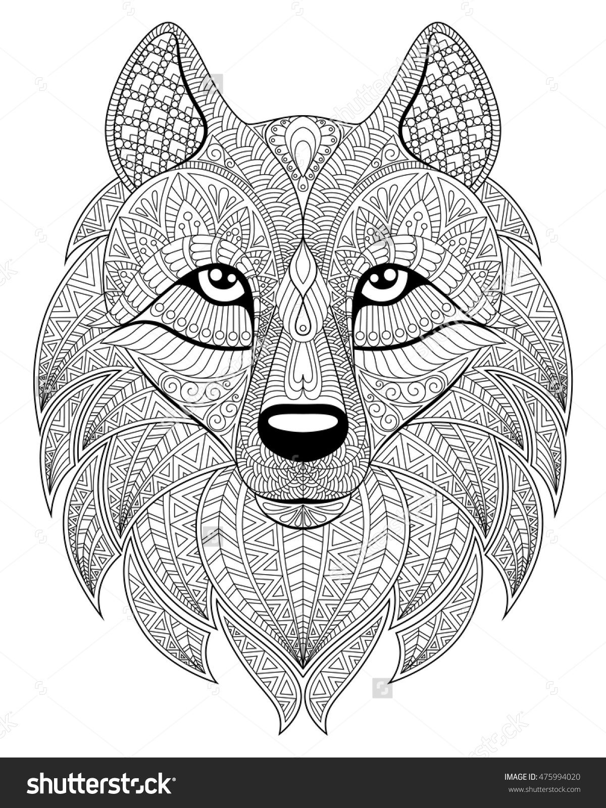 Wolf Head In Zentangle Style Adult Antistress Coloring Page