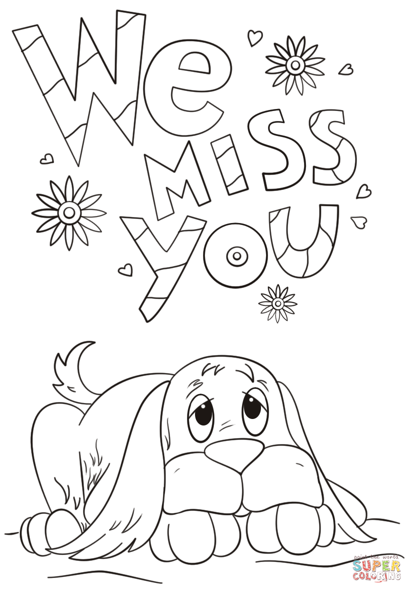 We Miss You Coloring Page | Free Printable Coloring Pages