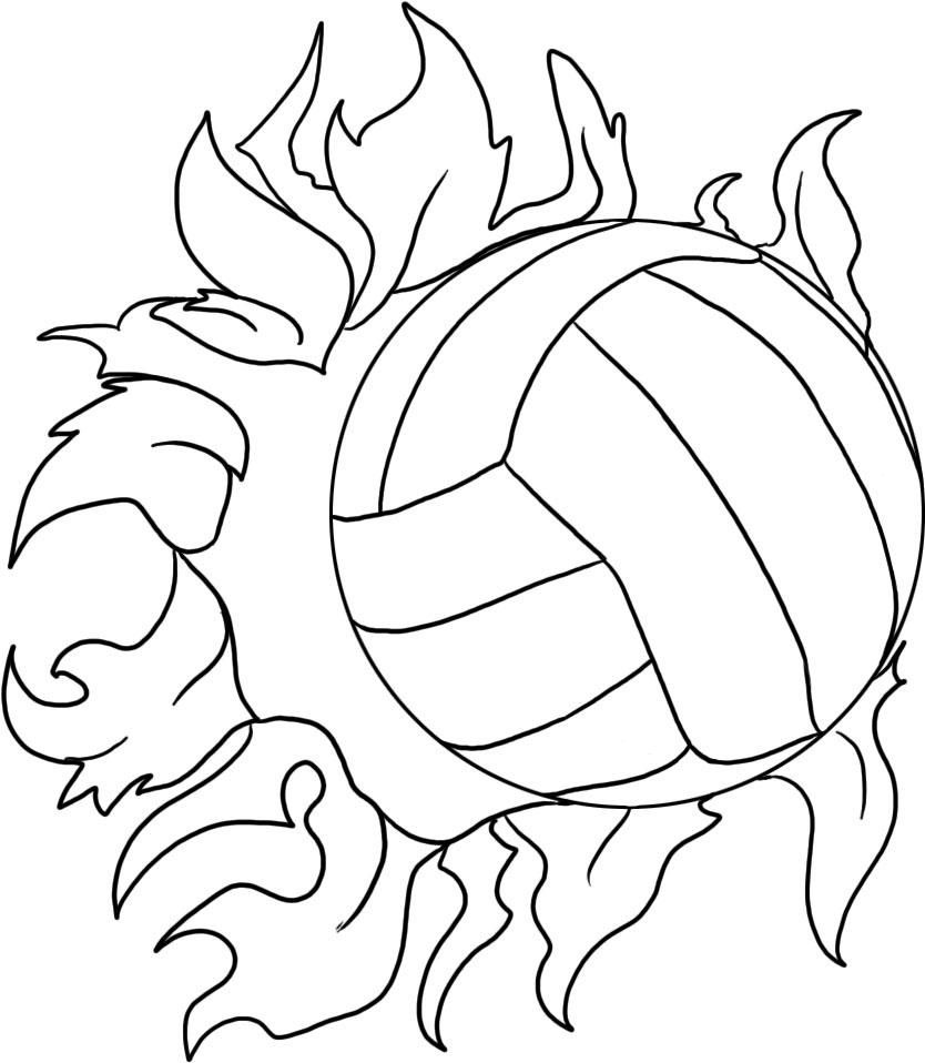 Volleyball Coloring Pages | Volleyball Drawing, Sports