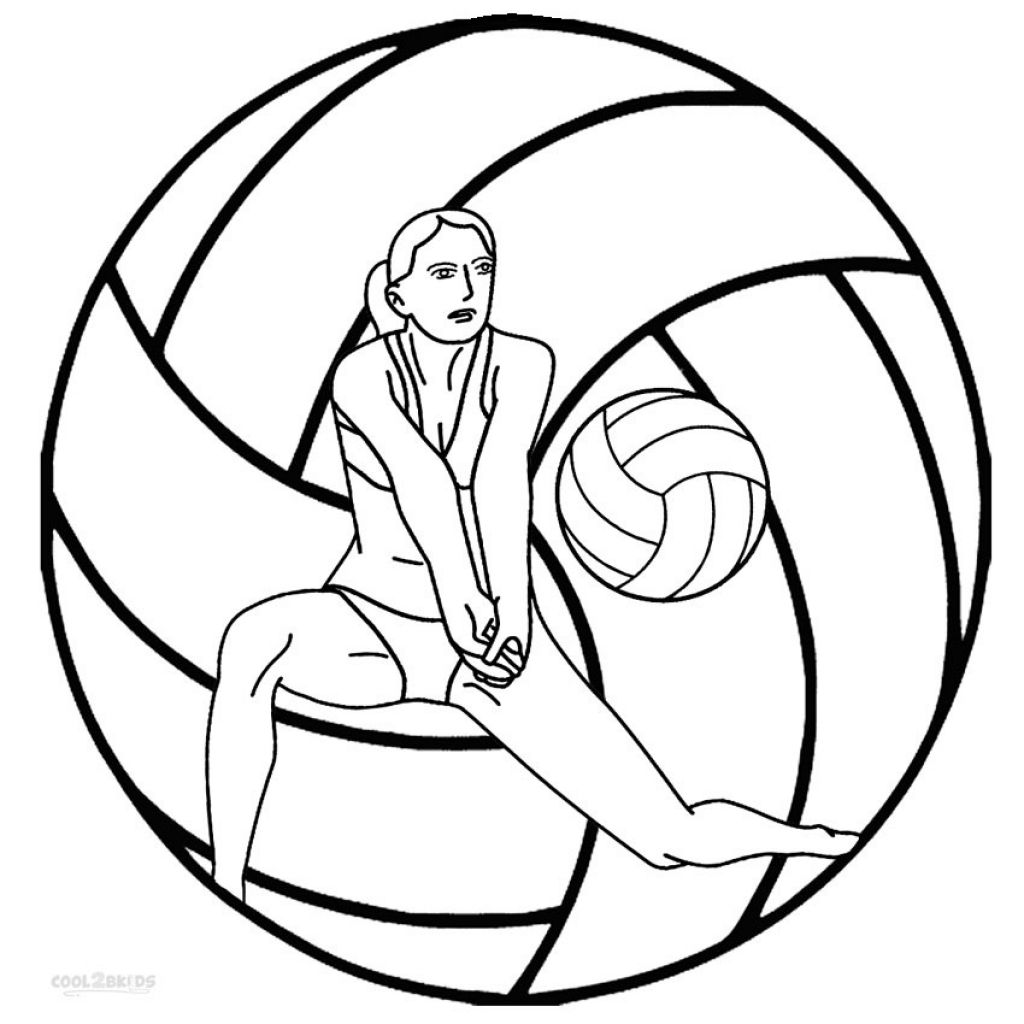 Printable Coloring Sheet Of Volleyball Online | Ms