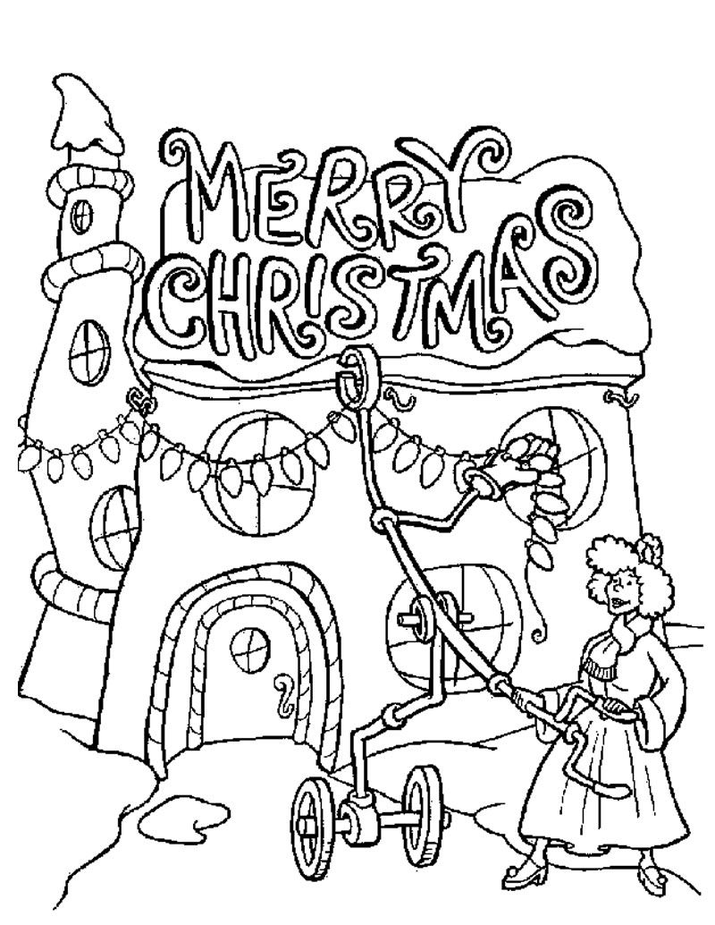 Christmas Lights Coloring Pages Grinch | Grinch Coloring