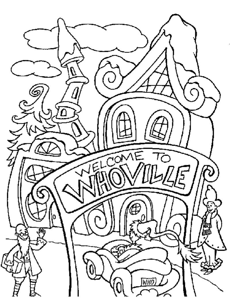 How The Grinch Stole Christmas Coloring Pages - Whoville