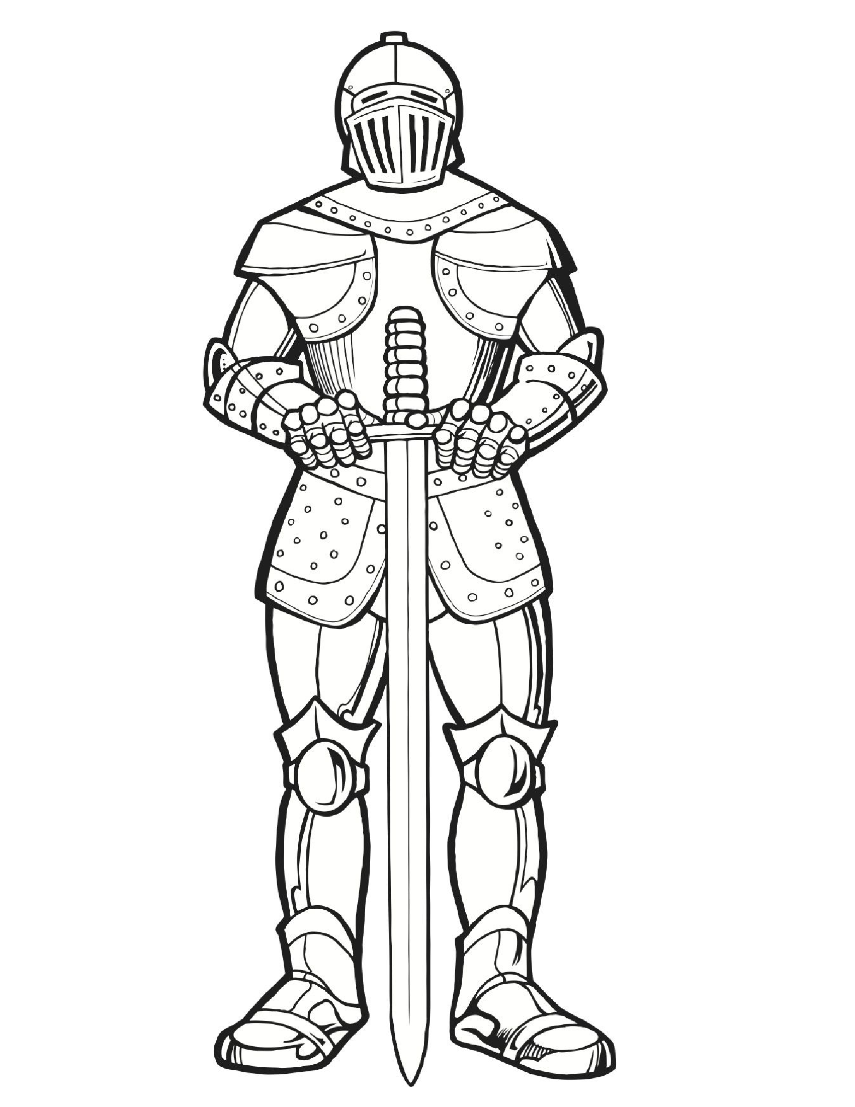 Knight Colouring Page | Knight/princess/mid Evil | Coloring