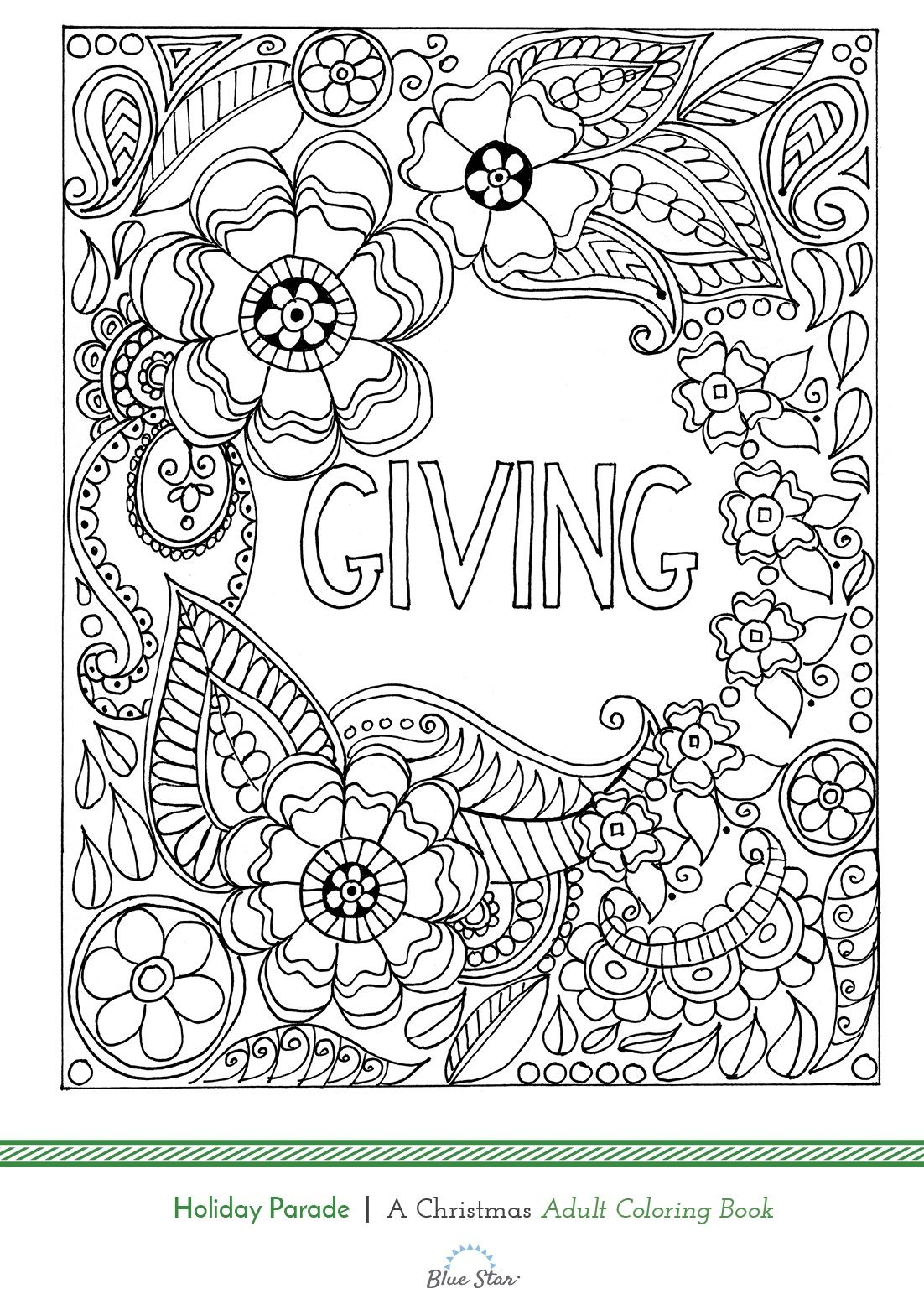 Giving : Another Free Adult Coloring Book Page From Holiday