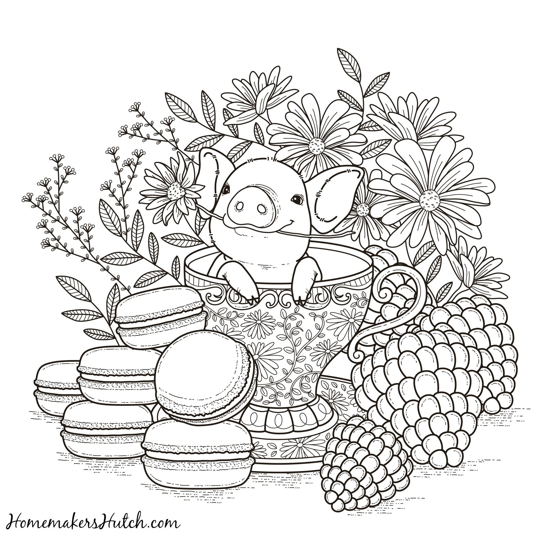 Pig In A Tea Cup - Adult Coloring Page | Coloring | Free