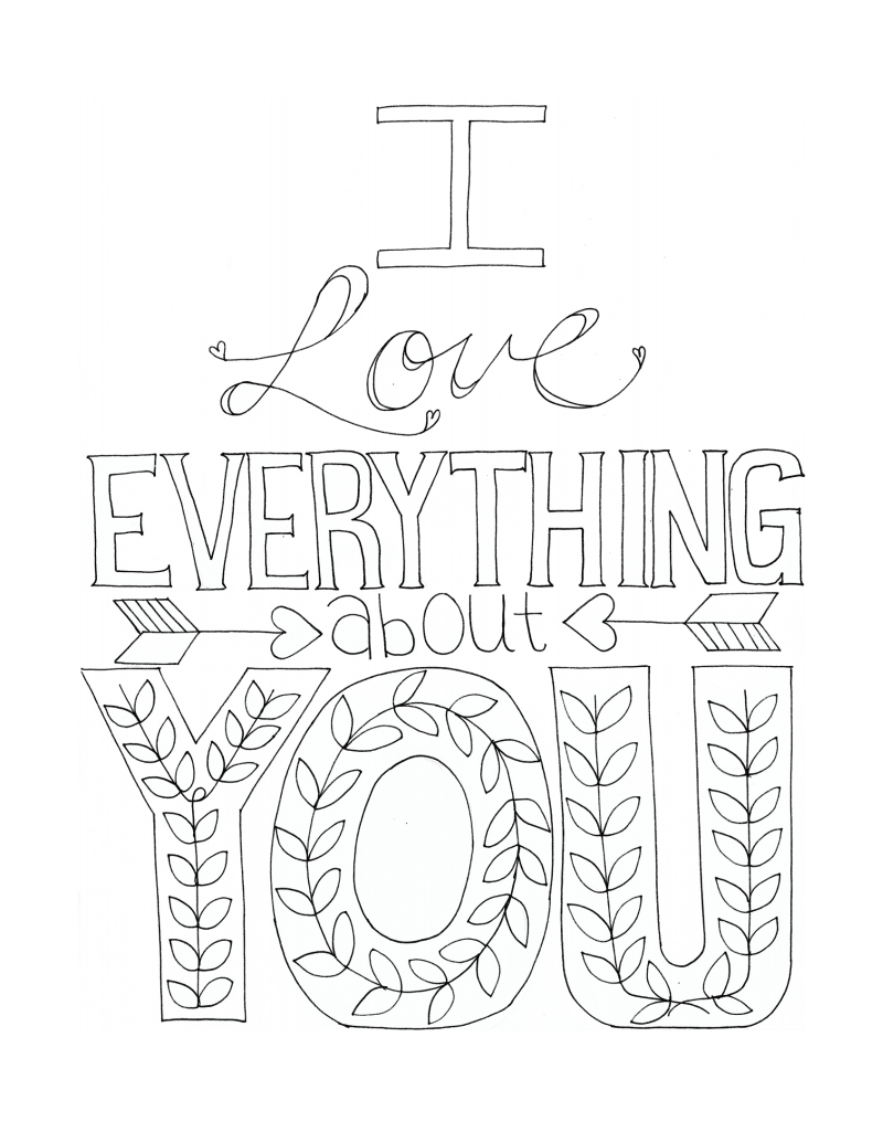 "Free Printable Coloring Page - Adult Coloring - ""i Love"