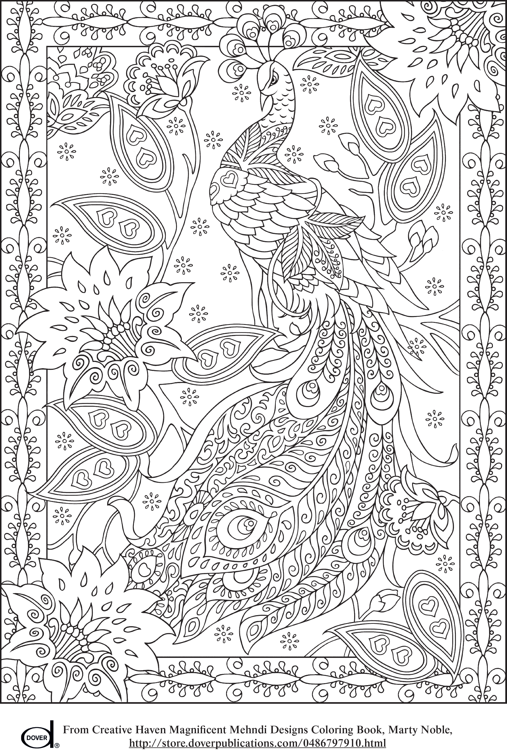 Free Printable Adult Coloring Pages - Peacock | Colorindo