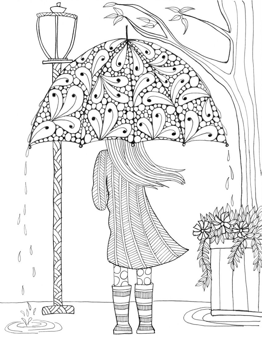 Menina E A Chuva | Coloring Books | Adult Coloring Pages