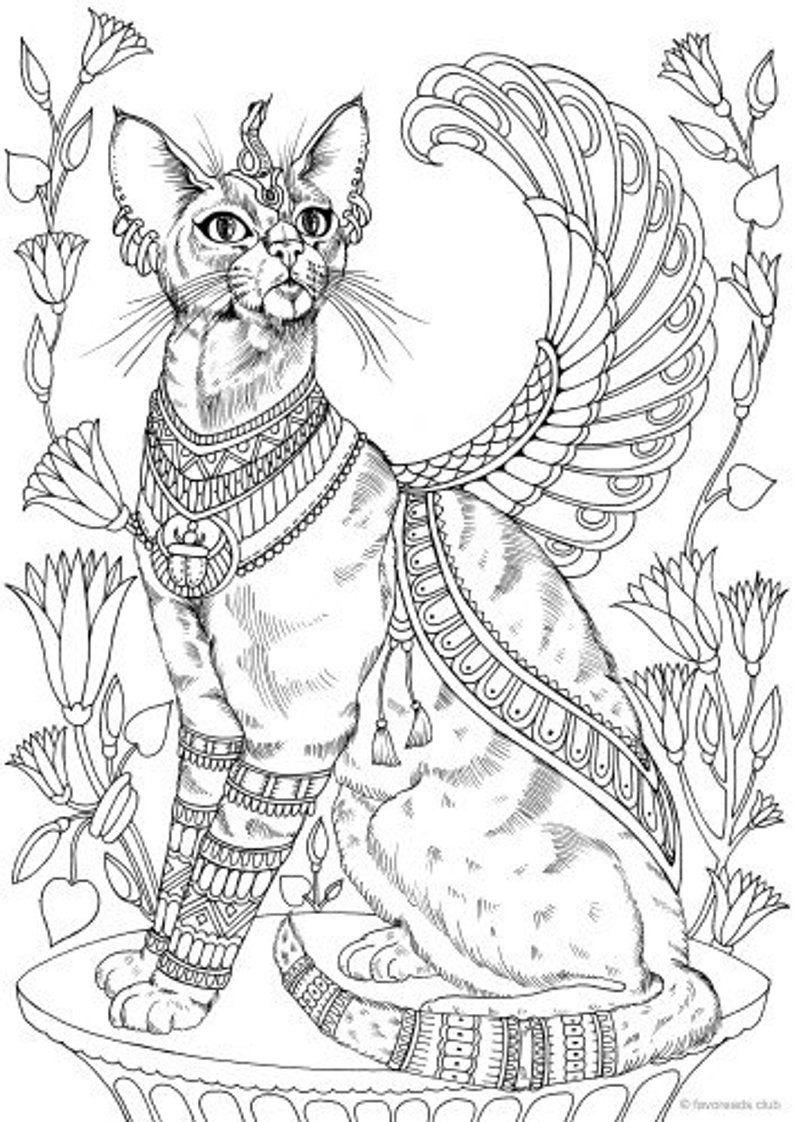 Egyptian Cat - Printable Adult Coloring Page From Favoreads