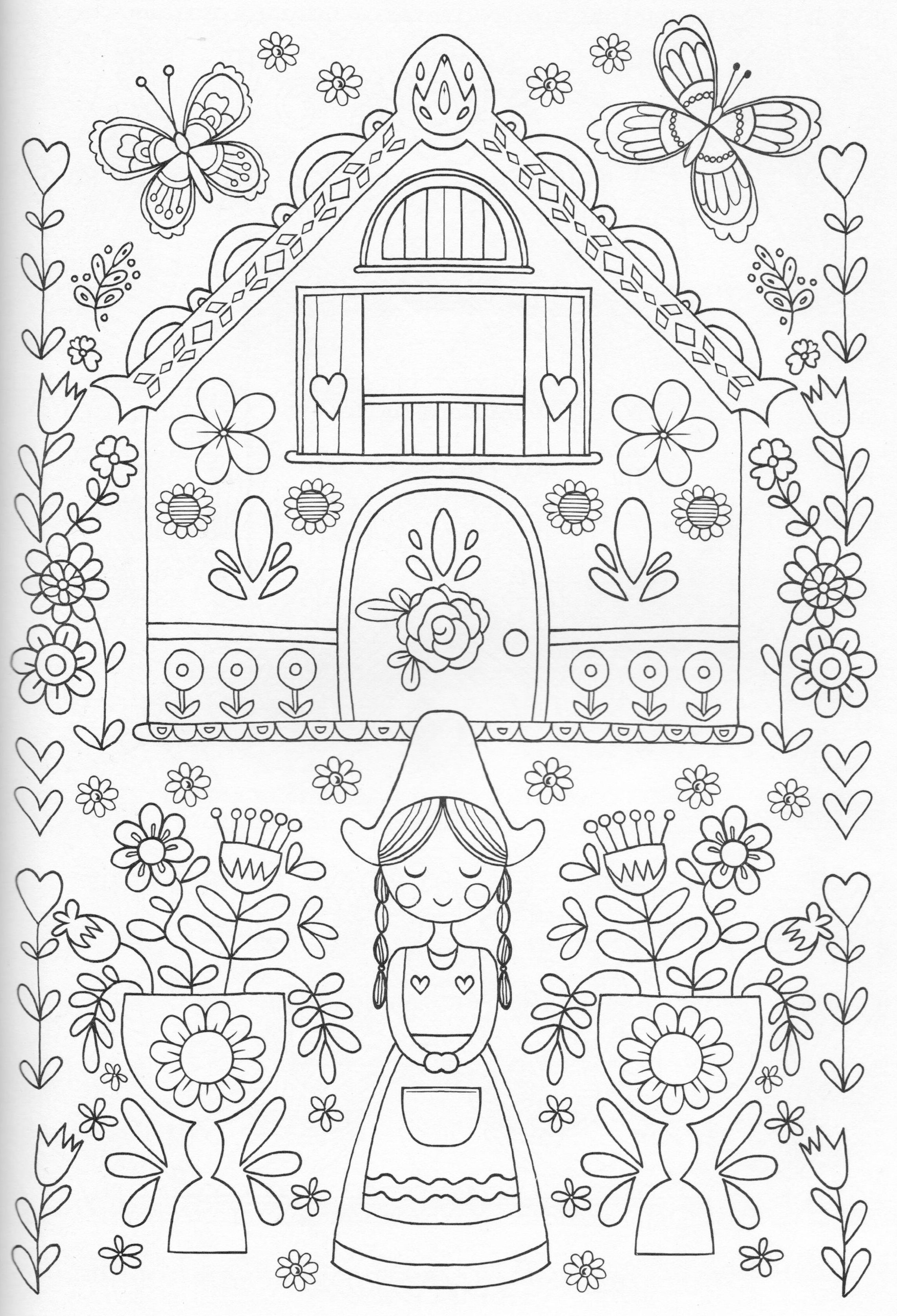 Scandinavian Coloring Book Pg 25 | Coloring Page House/door