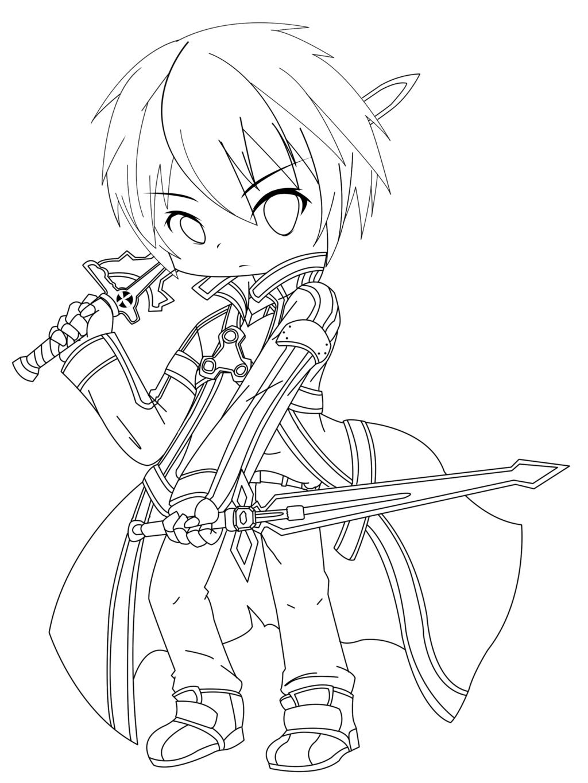 Kirito Sword Art Online Coloring Page | Anime | Chibi