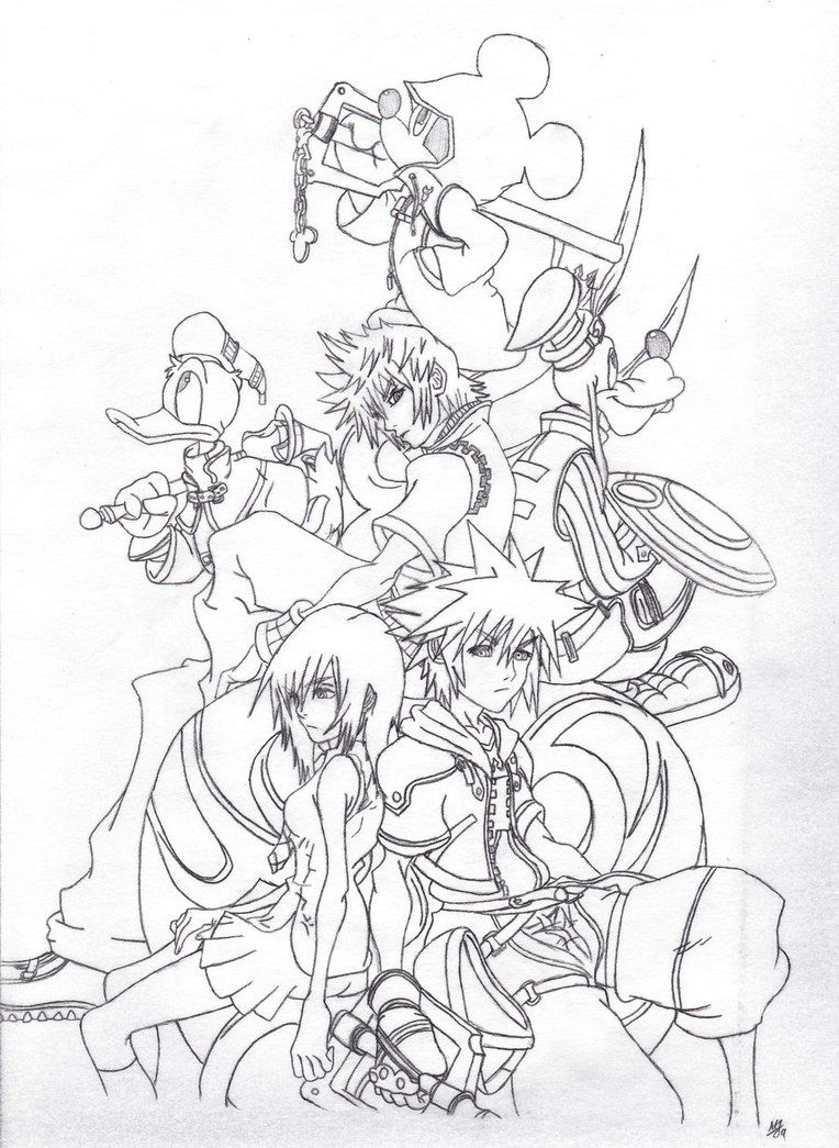 Kingdom Hearts Coloring Pages | Kingdom Hearts 2 Coloring