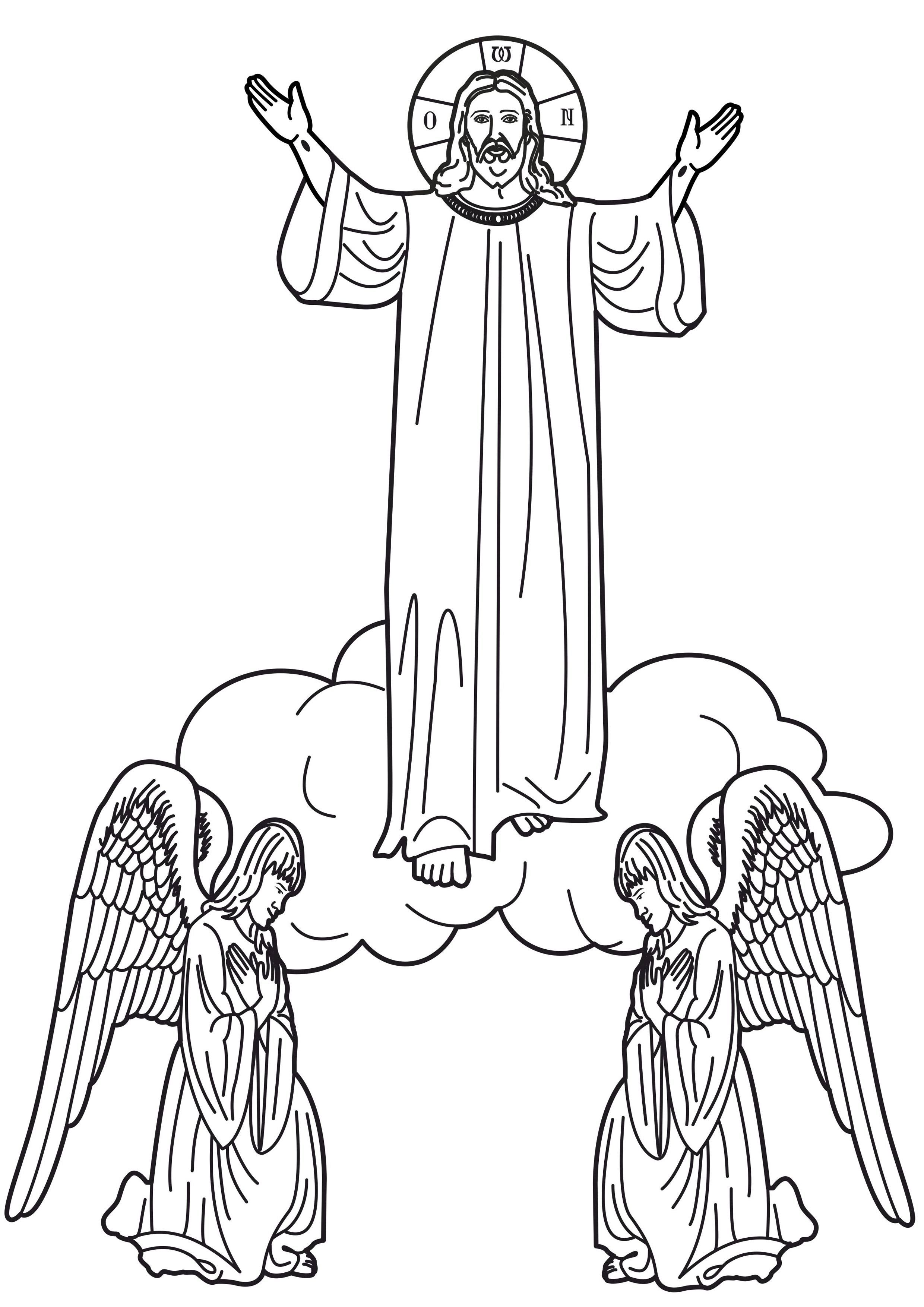 Christ's Ascension Into Heaven Coloring Page | Catholic