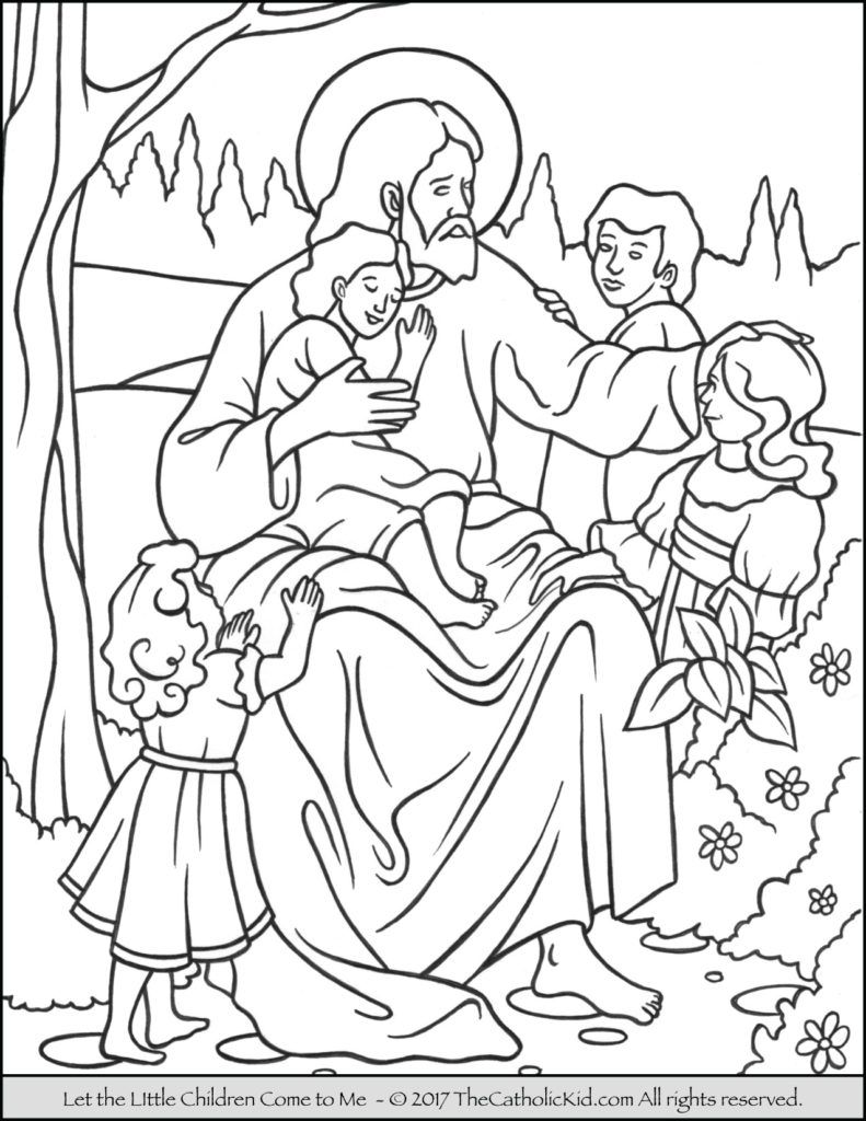 Jesus Children Coloring Page | Bible Stories Crafts | Jesus