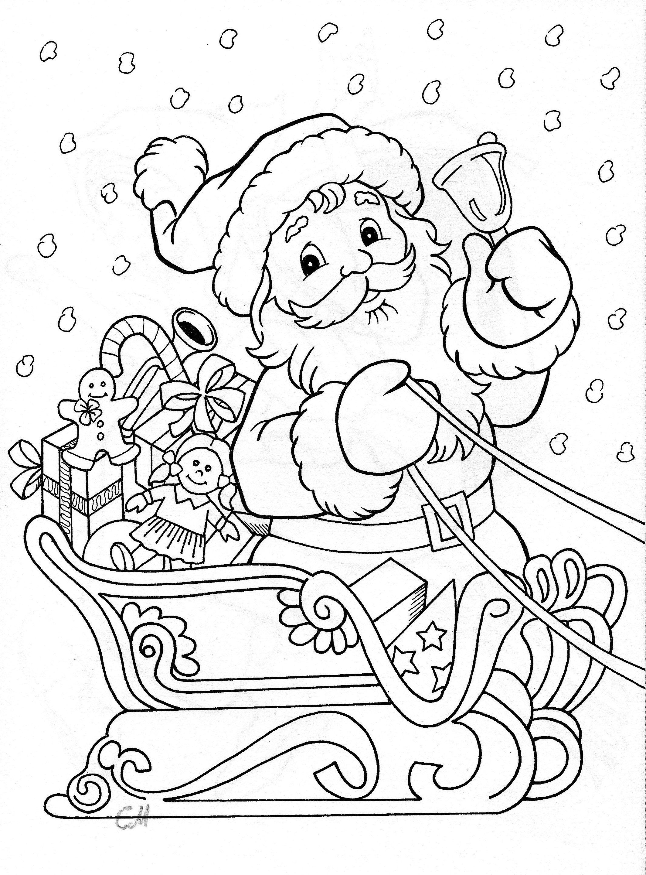 Santa Coloring   Coloring   Christmas Coloring Pages