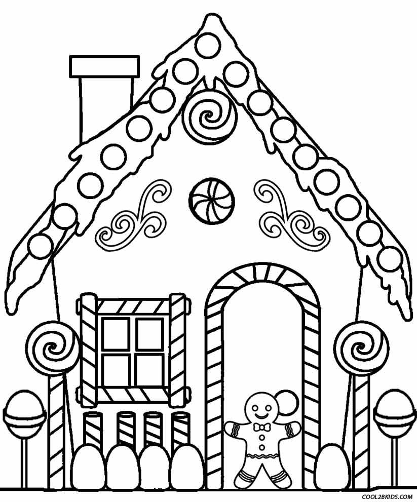 Gingerbread House Coloring Pages   Navidad   House Colouring
