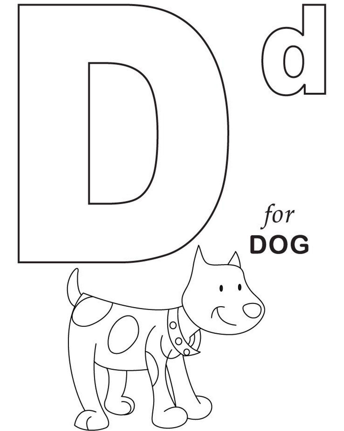 Alphabet Coloring, D For Dog Printable Alphabet Coloring