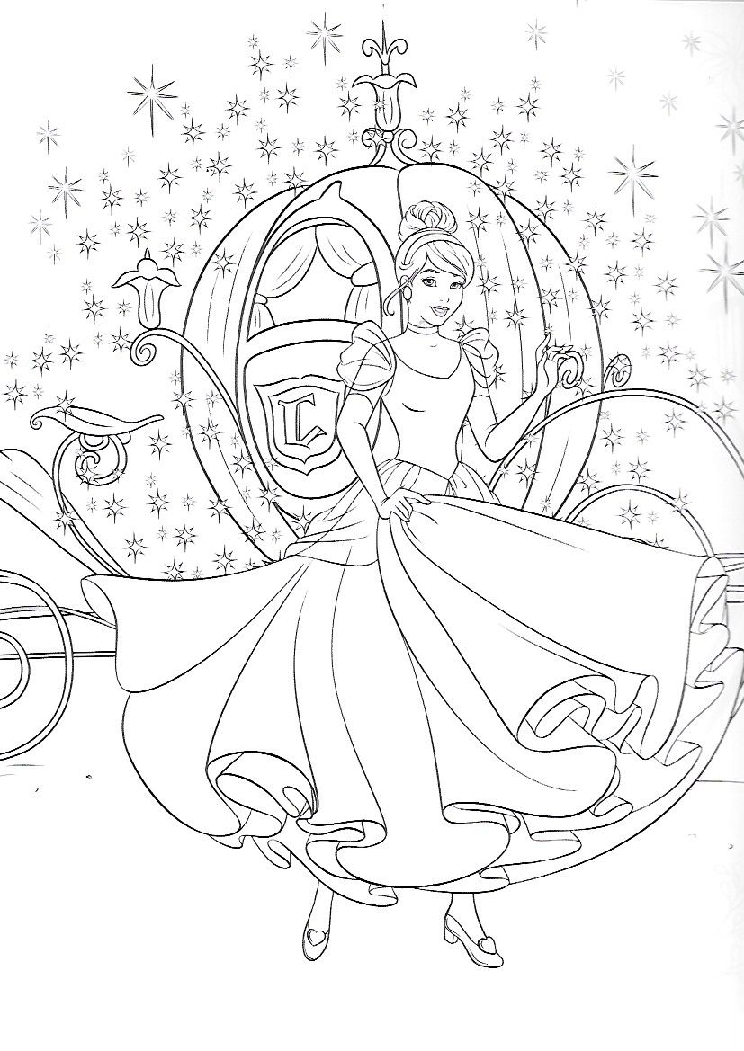 Cinderella And Carriage   Coloring   Princess Coloring Pages