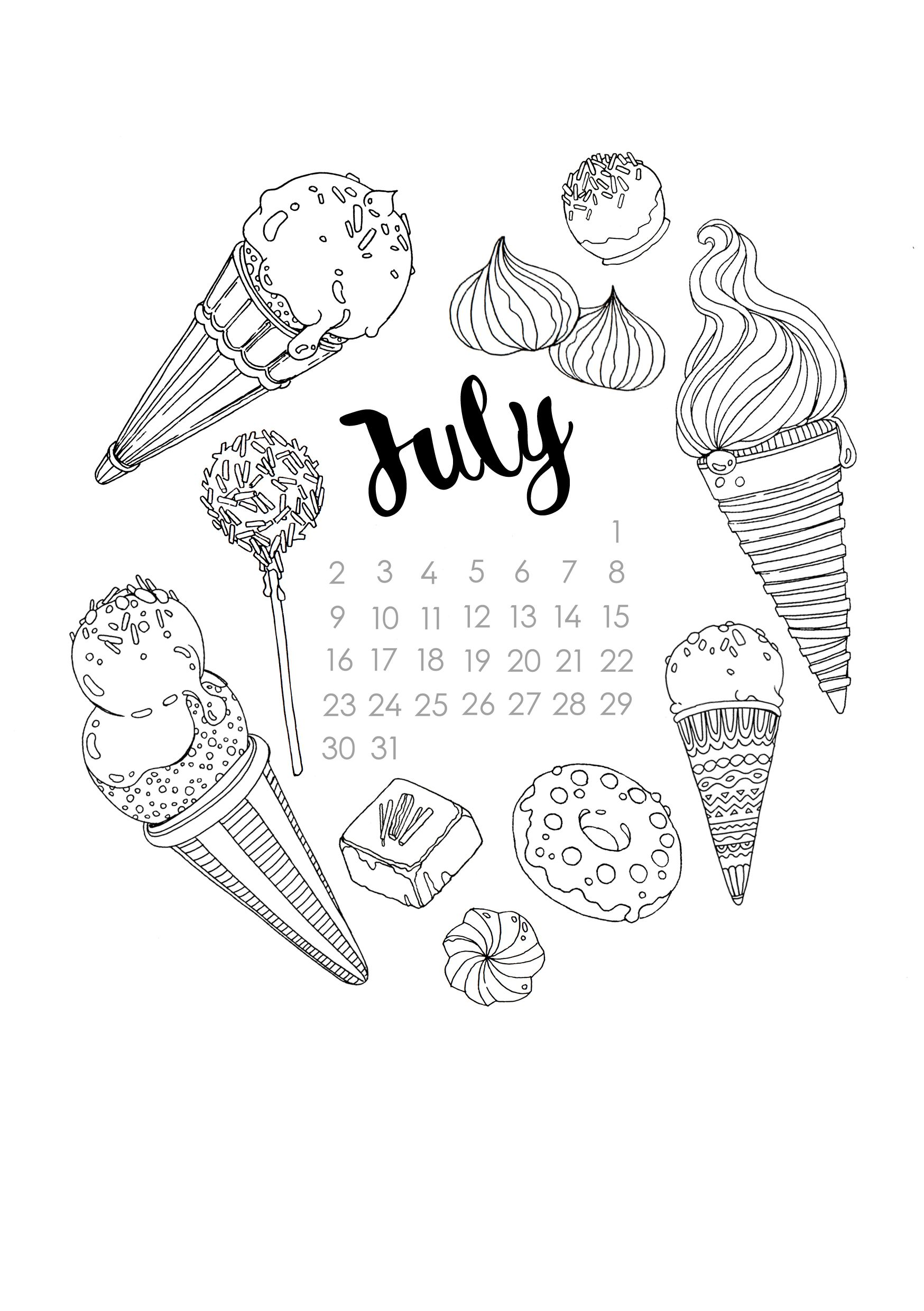 Summery Sweet Coloring Page! With Lots Of Ice Cream Cones