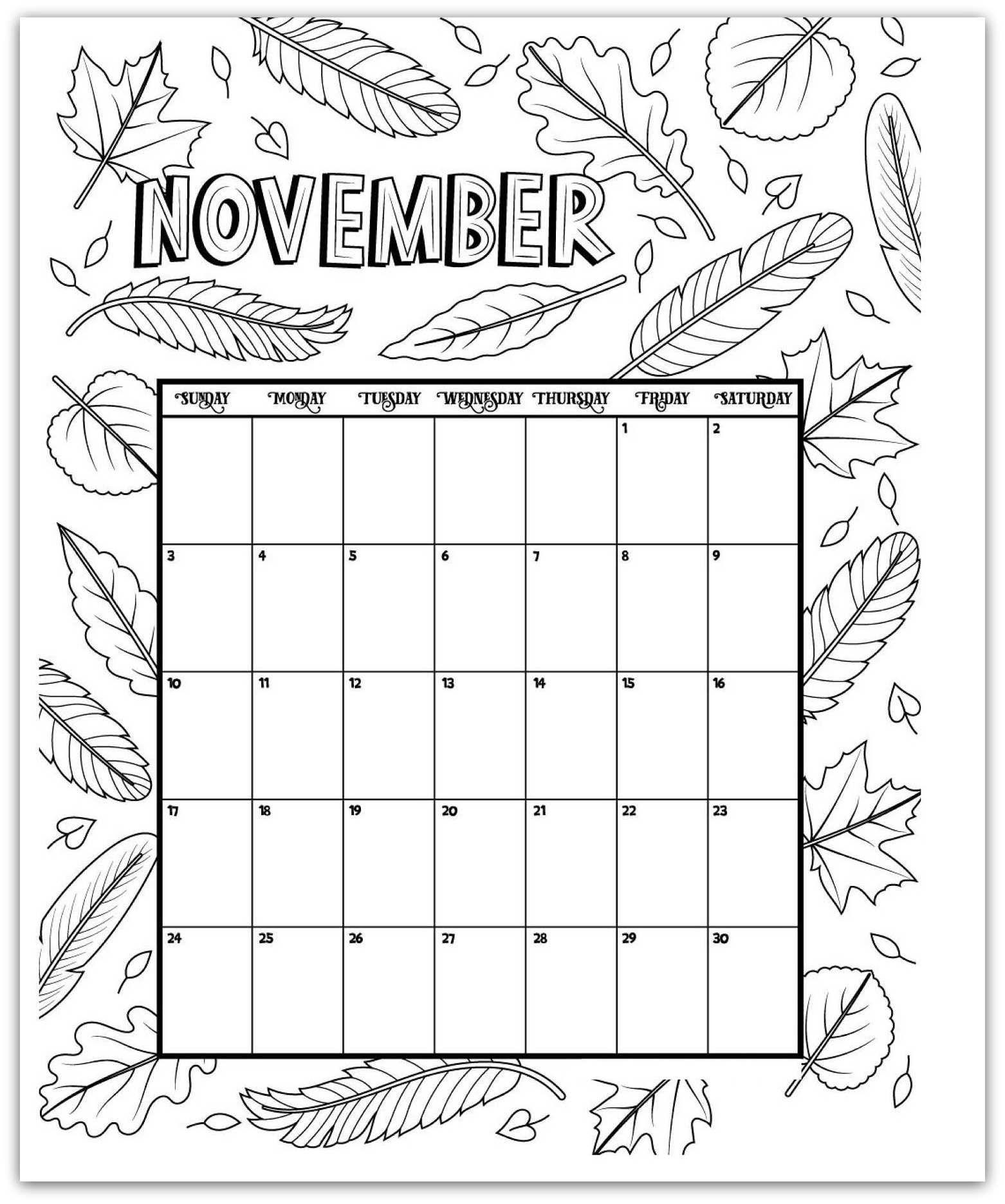 November 2019 Coloring Page Printable Calendar | 2019