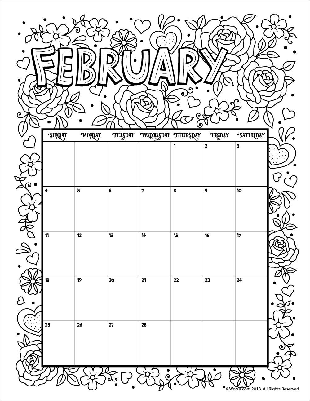 February 2018 Coloring Calendar Page | Stuff To Try