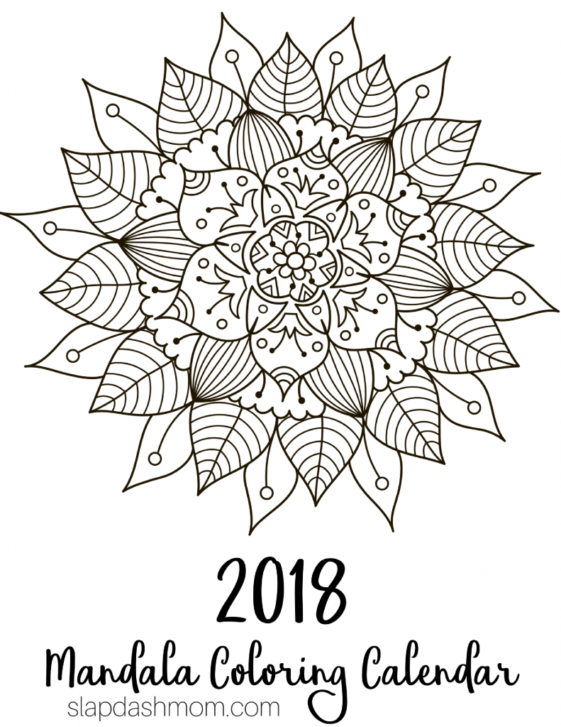 Free Printable 2018 Calendar – Mandala Coloring Pages