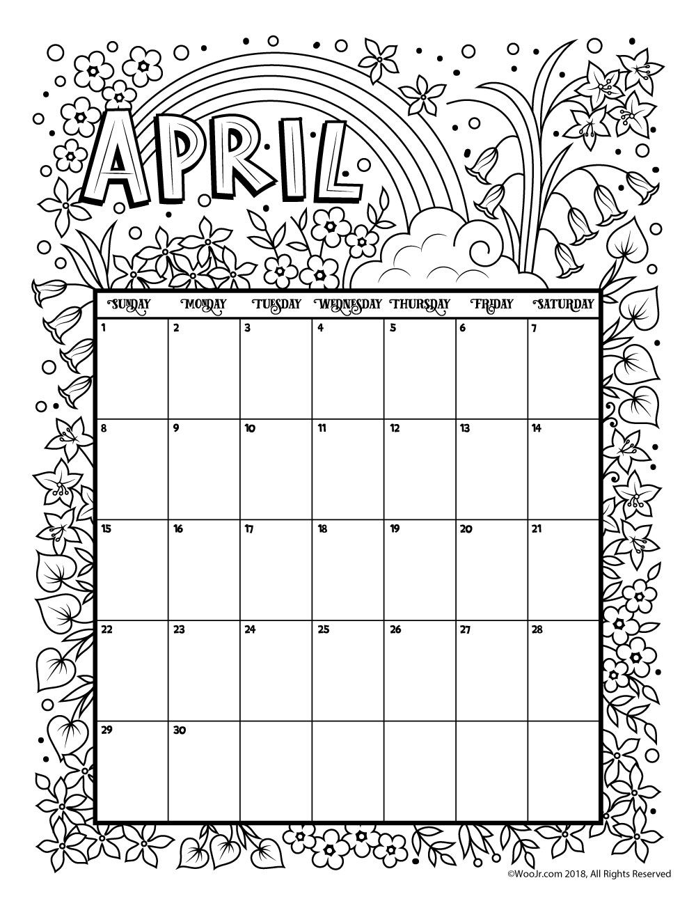 Printable Coloring Calendar For 2019 (and 2018!) | Holiday