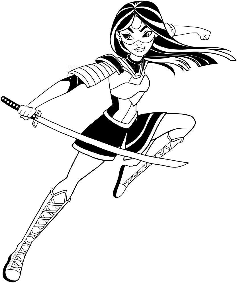 Katana Dc Superhero Girls Coloring Page To Print - Solid