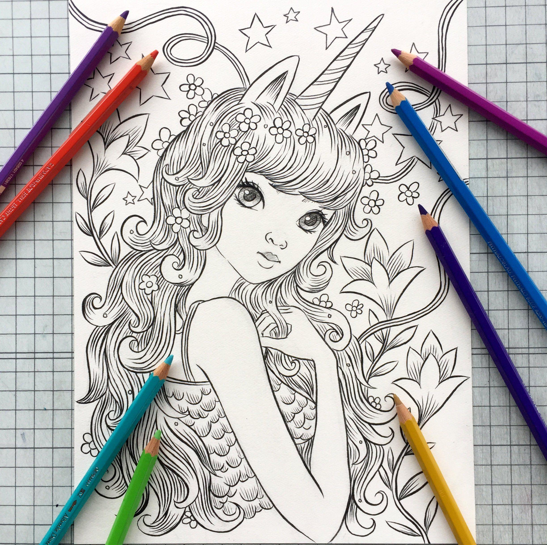 Unicorn Girl | Coloring Page | Jeremiah Ketner | Moyeo