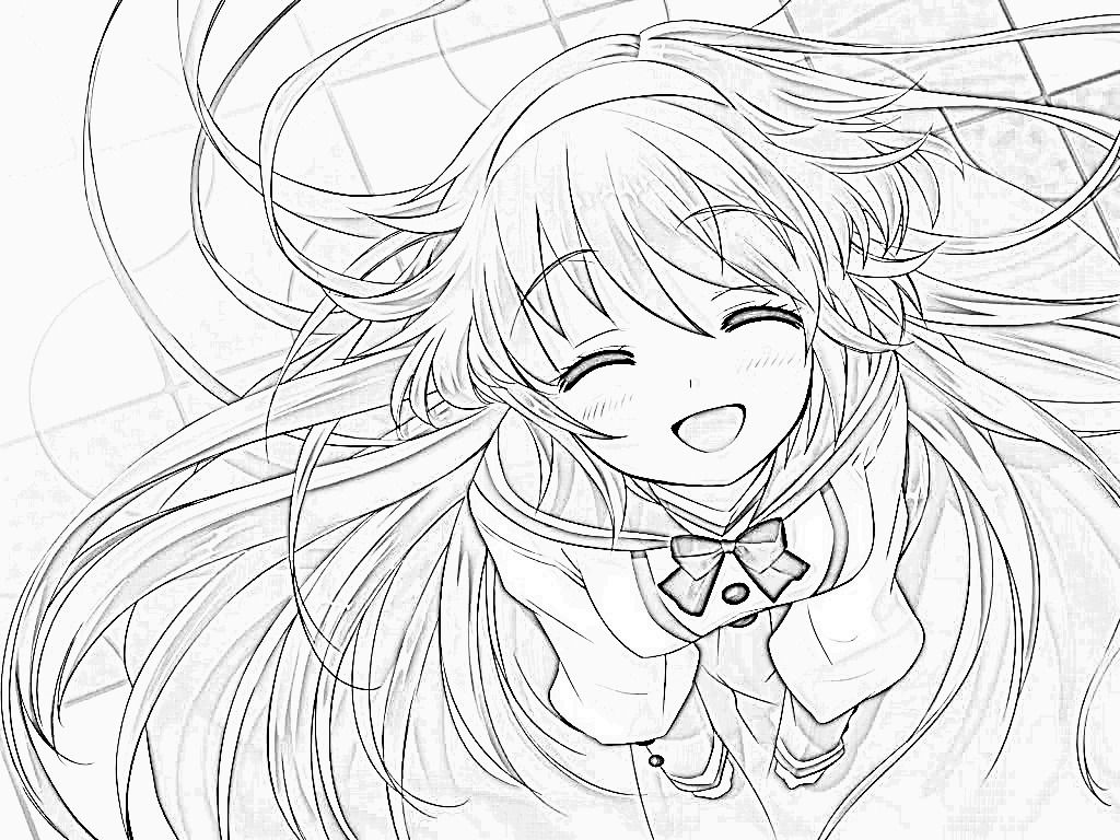 Cute Anime Girl Coloring Page | Pictures | Anime Girl