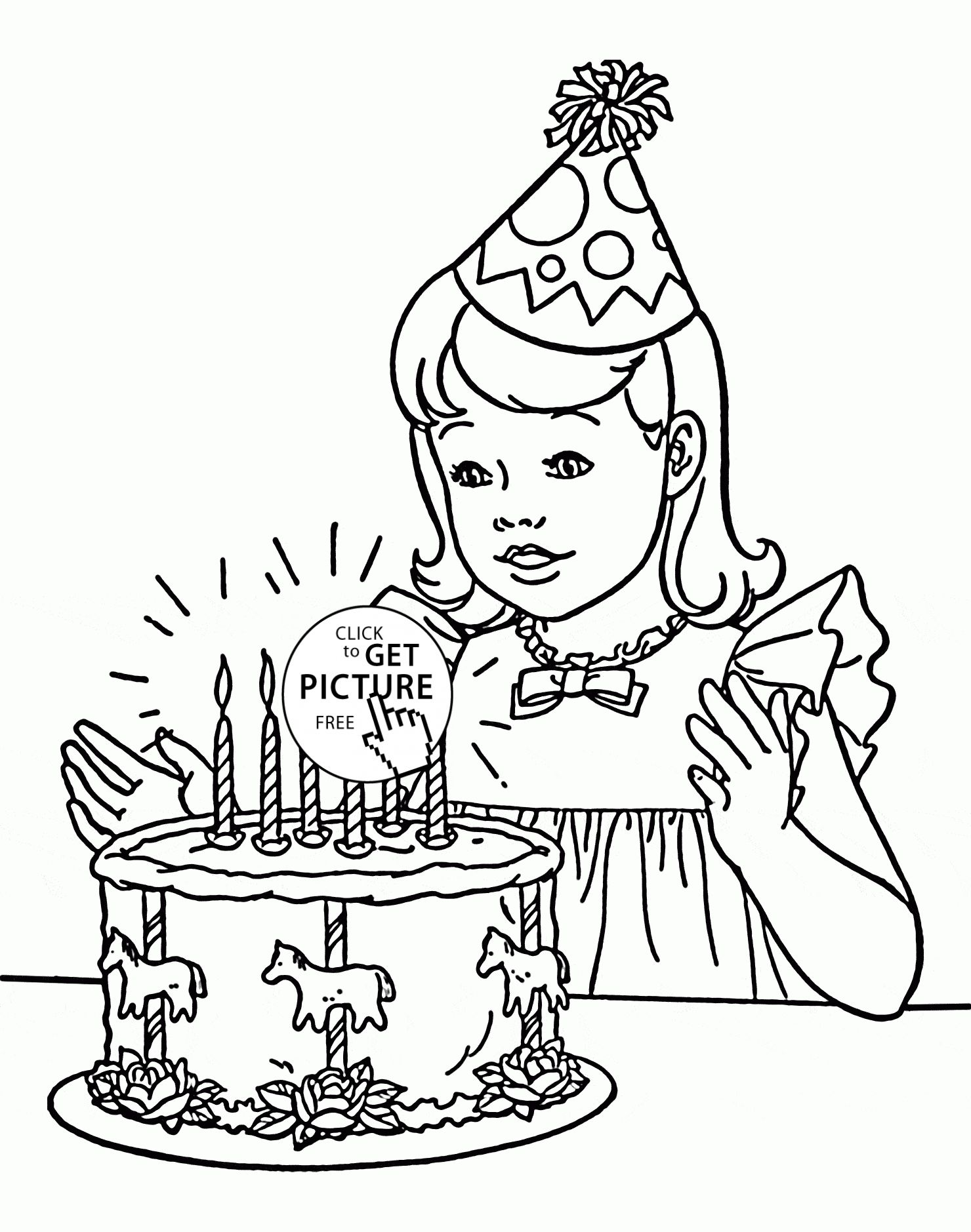 Birthday Girl Coloring Page For Kids Holiday Coloring Pages